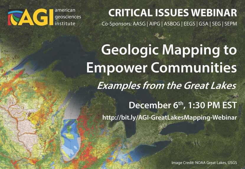 "AGI – Webinar ""Geologic Mapping to Empower Communities"" – Dec 6th 1:30 PMEST"